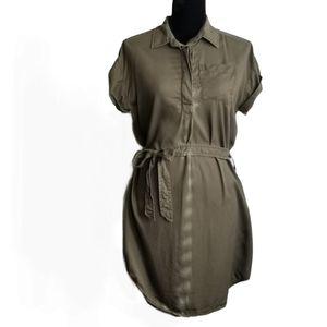 JOE FRESH Shirt Dress Green Button Down Mini